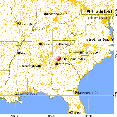 Dawsonville, GA (30534) map from a distance