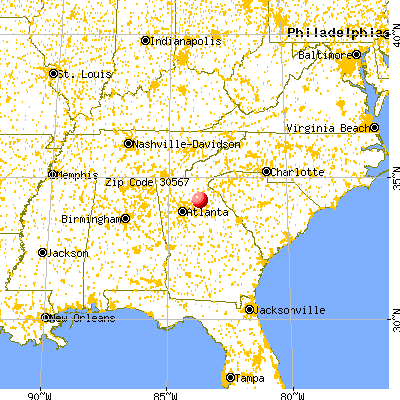 Pendergrass, GA (30567) map from a distance
