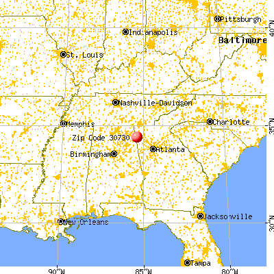 Lyerly, GA (30730) map from a distance