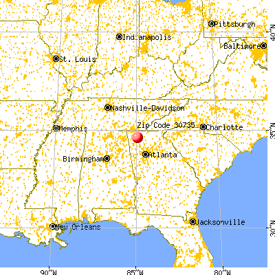 Resaca, GA (30735) map from a distance