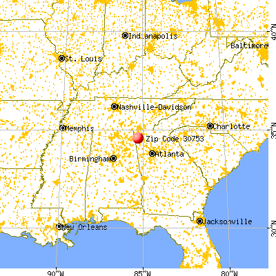 Trion, GA (30753) map from a distance