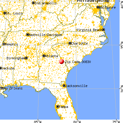 Waynesboro, GA (30830) map from a distance