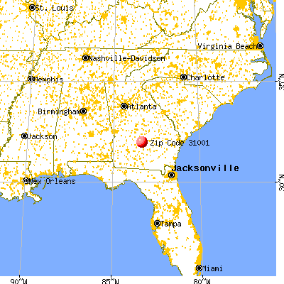 Abbeville, GA (31001) map from a distance
