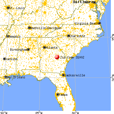Adrian, GA (31002) map from a distance