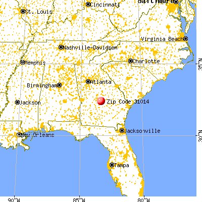 Cochran, GA (31014) map from a distance