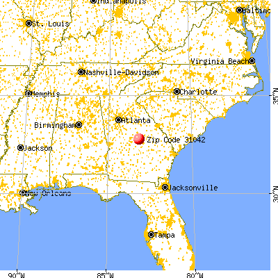 Irwinton, GA (31042) map from a distance