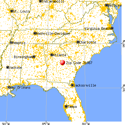 Oconee, GA (31067) map from a distance