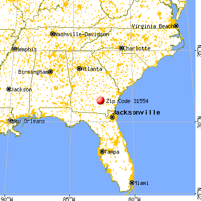 Nicholls, GA (31554) map from a distance