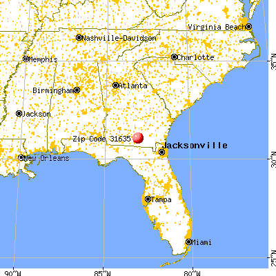 Lakeland, GA (31635) map from a distance