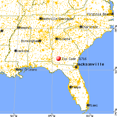 Baconton, GA (31716) map from a distance