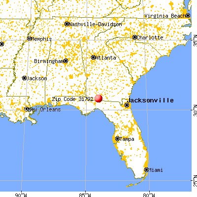 Thomasville, GA (31792) map from a distance