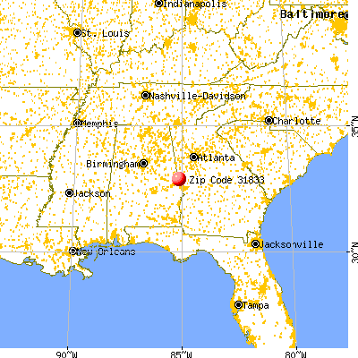 West Point, GA (31833) map from a distance