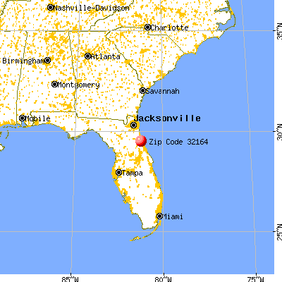 Palm Coast, FL (32164) map from a distance