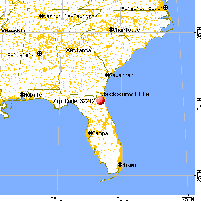 Jacksonville, FL (32212) map from a distance