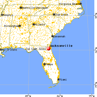 Jacksonville, FL (32222) map from a distance