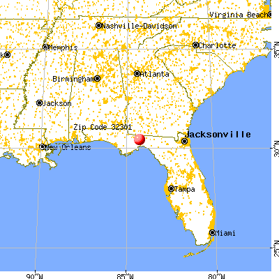 Tallahassee, FL (32301) map from a distance