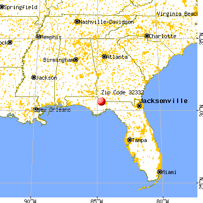 Gretna, FL (32332) map from a distance