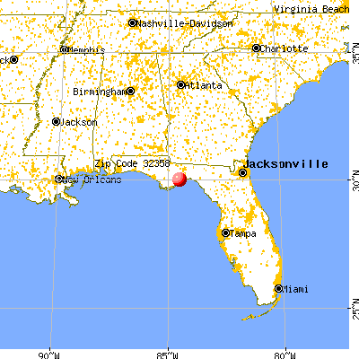 Sopchoppy, FL (32358) map from a distance