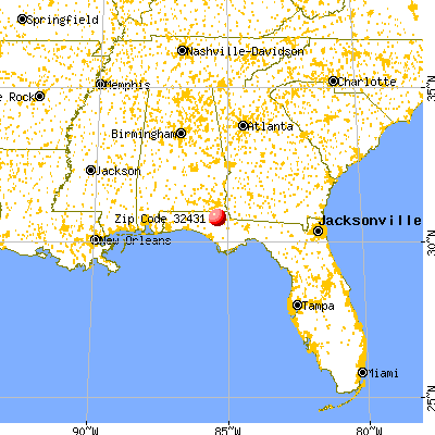 Jacob City, FL (32431) map from a distance