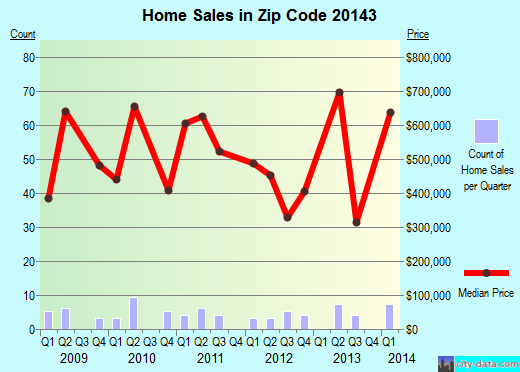 Zip code 20143 (, Virginia) real estate house value trends