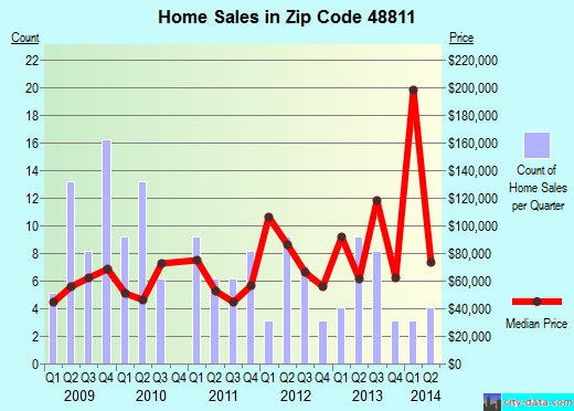 Zip code 48811 (Carson City, Michigan) real estate house value trends