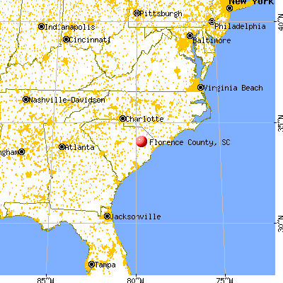 Florence County, SC map from a distance