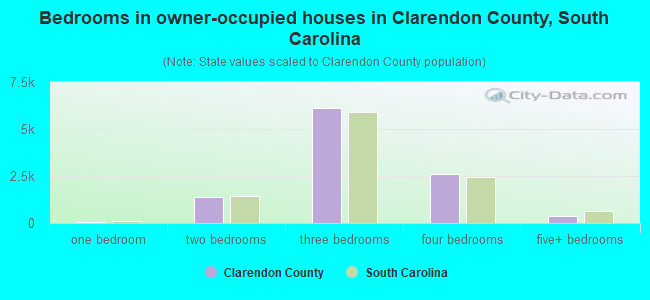 Bedrooms in owner-occupied houses in Clarendon County, South Carolina