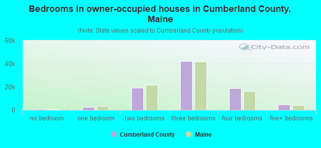 Bedrooms in owner-occupied houses in Cumberland County, Maine