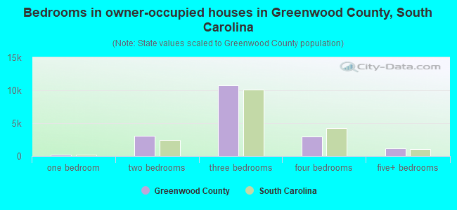 Bedrooms in owner-occupied houses in Greenwood County, South Carolina