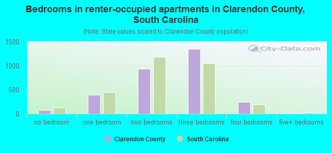 Bedrooms in renter-occupied apartments in Clarendon County, South Carolina
