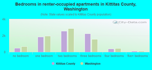 Bedrooms in renter-occupied apartments in Kittitas County, Washington