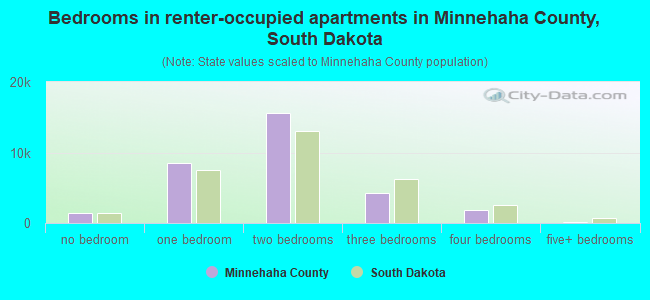 Bedrooms in renter-occupied apartments in Minnehaha County, South Dakota