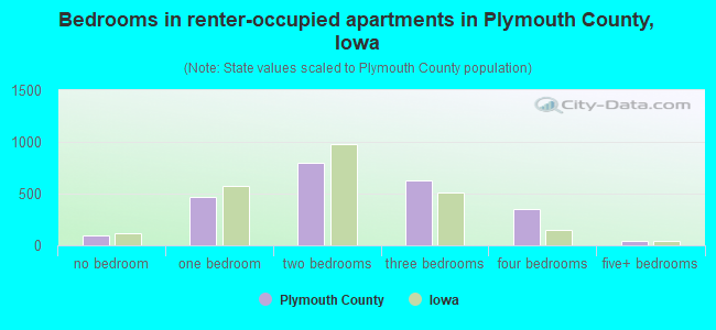 Bedrooms in renter-occupied apartments in Plymouth County, Iowa