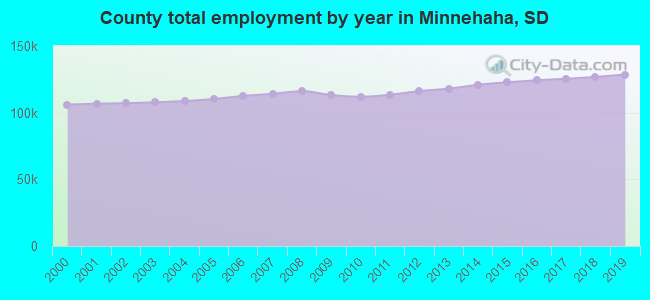 County total employment by year in Minnehaha, SD