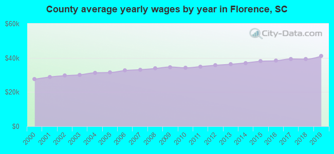 County average yearly wages by year in Florence, SC