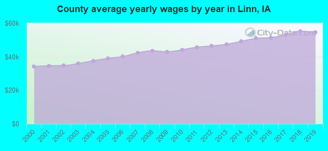 County average yearly wages by year in Linn, IA