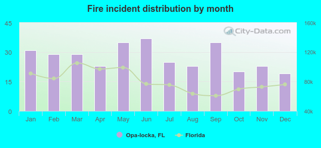 Fire incident distribution by month