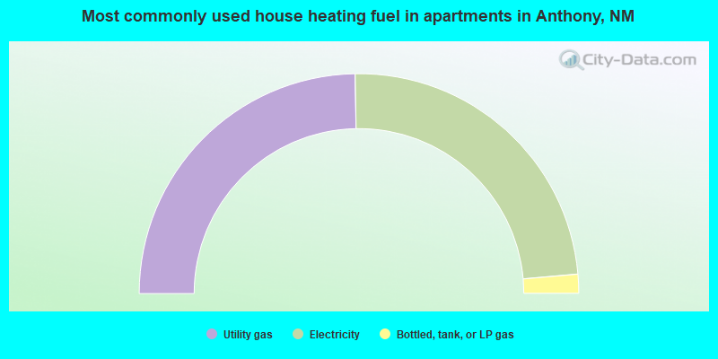 Most commonly used house heating fuel in apartments in Anthony, NM
