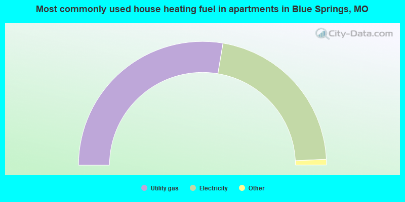 Most commonly used house heating fuel in apartments in Blue Springs, MO
