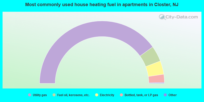 Most commonly used house heating fuel in apartments in Closter, NJ