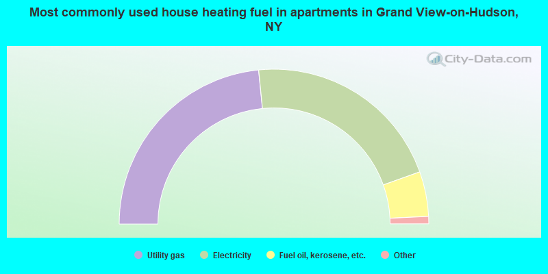 Most commonly used house heating fuel in apartments in Grand View-on-Hudson, NY