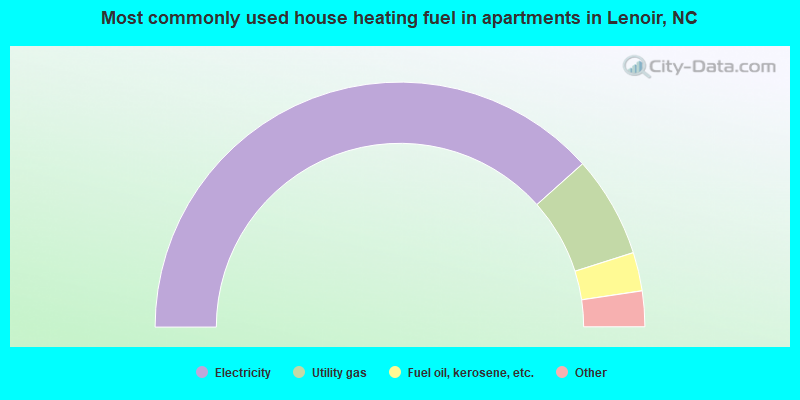 Most commonly used house heating fuel in apartments in Lenoir, NC
