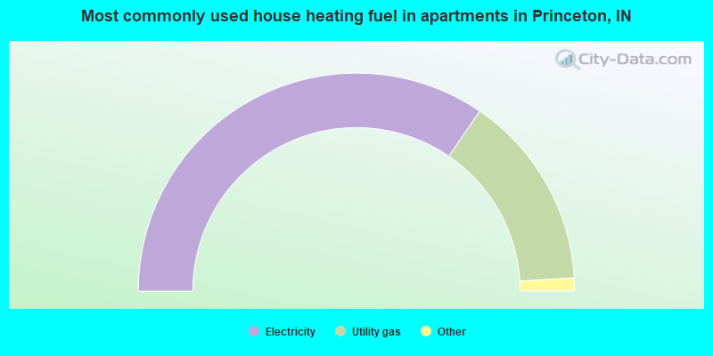 Most commonly used house heating fuel in apartments in Princeton, IN