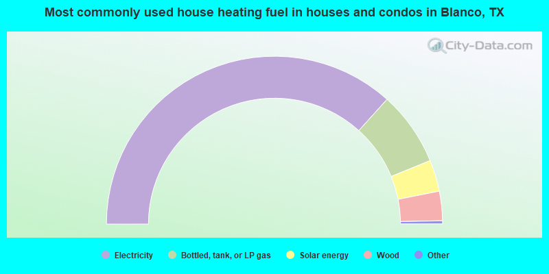 Most commonly used house heating fuel in houses and condos in Blanco, TX