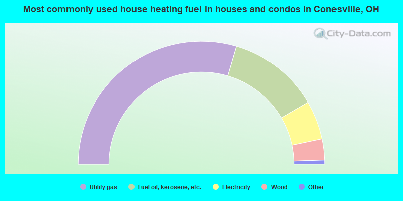 Most commonly used house heating fuel in houses and condos in Conesville, OH
