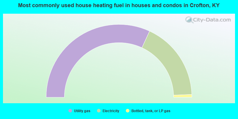 Most commonly used house heating fuel in houses and condos in Crofton, KY