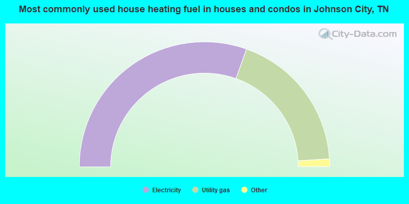 Most commonly used house heating fuel in houses and condos in Johnson City, TN