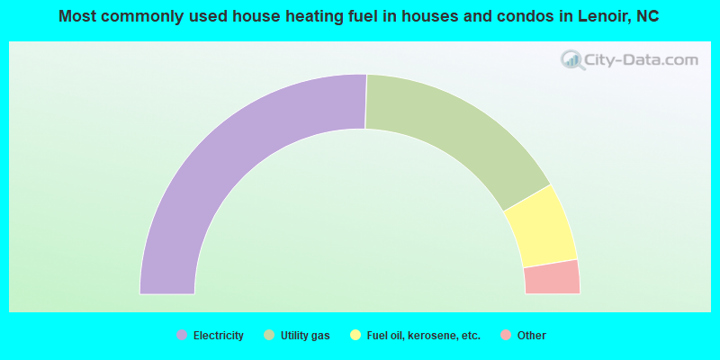 Most commonly used house heating fuel in houses and condos in Lenoir, NC