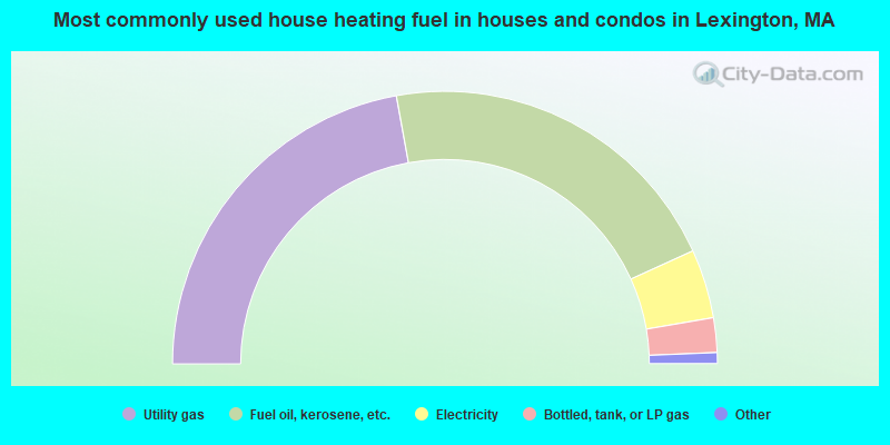 Most commonly used house heating fuel in houses and condos in Lexington, MA