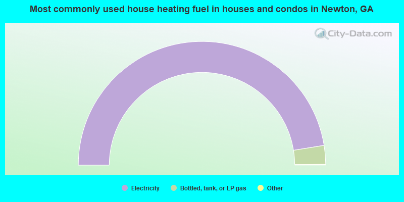 Most commonly used house heating fuel in houses and condos in Newton, GA